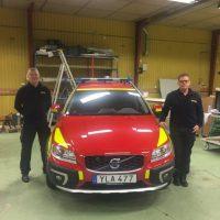Räddningstjänsten Nybro hämtar Volvo XC70 ledningsfordon